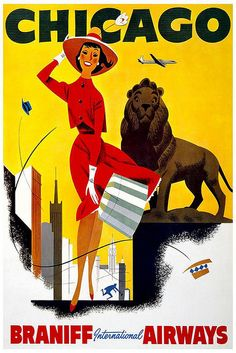 Braniff Airlines travel poster for Chicago