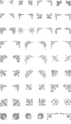 coloring pages - A huge collection of 66 corner vector ornaments Add the decorative corners to embellish your layout and give a classic touch Easily adapt these vector art elements to your needs change the ornament colors, resize it or modify it You'r Elements Of Art, Design Elements, Cursive Alphabet, Vintage Ornaments, Diy Ornaments, Ornaments Design, Vector Art, Vector Graphics, Vector Design