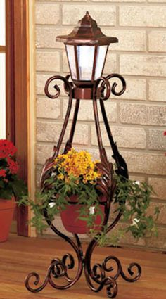 Patio Light With Planter Solar Power Lantern Scrolling Metal On/Off Switch Porch #LC