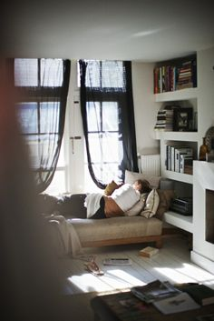 Window sheers.  FEM home via Charlotte Minty Design blog.  Photograph by Paul Barbera via FEM.