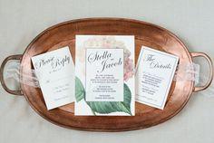 Vintage botanical illustration wedding suite. Floral wedding invitation
