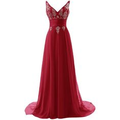 ALAGIRLS Long V Neck Prom Dress Chiffon Sequins Evening Dress (€87) ❤ liked on Polyvore featuring dresses, red sequin dress, red chiffon dress, homecoming dresses, long homecoming dresses and chiffon prom dresses