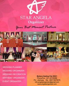 STAR ANGELA ORGANIZER - PROMO MEI 2016 Wedding Organizer - Wedding Package - Wedding Decoration  HOT PROMO - CASHBACK 1 JUTA WEDDING ORGANIZER Halfday 5 juta skrg 4 juta WEDDING ORGANIZER Fullday 7 juta skrg 6 juta  100 Ballon/Bubble Machine  HOT PROMO - CASHBACK 5 JUTA  10 BONUS LAINNYA ALL PAKET PERNIKAHAN GEDUNG & RUMAH(JAKARTA BEKASI TANGERANG) HARGA PAKET MULAI : - LOVELY WEDDING PACKAGE (400 Tamu) : 49.9 juta skrg 62.9 juta - LOVELY WEDDING PACKAGE (800 Tamu) : 76 juta skrg 71 juta…