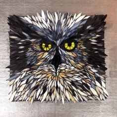 "Mosaic Owl "" All Ruffled Up"" by Caren Zane Fishman"