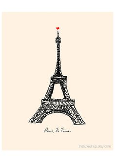 Paris. Je Taime. French love print in 8x10 inches on A4 in Cream and Classic Black