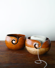 Keep your yarn from running away in our gorgeous rosewood yarn bowls. www.knitpicks.com