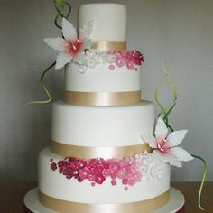 This 4 tier wedding cake features ombre pinks & greens and was created for Cake Central magazine