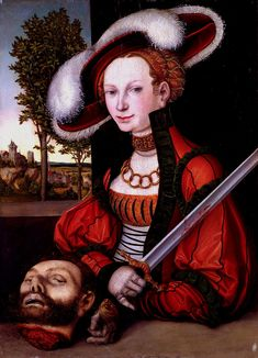 Lucas Cranach the Elder 1472 – 1553. Judith with the Head of Holofernes. This is the primary basis portrait for my dream, orange and green, Saxon dress of power... just saying...