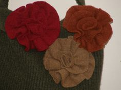 3 D  felted flowers Rusty Copper, Beige Red color for Applique Decoration Upcycled Wool Sweater by Mcleodhandcraftgifts on Etsy. $8.00, via Etsy.