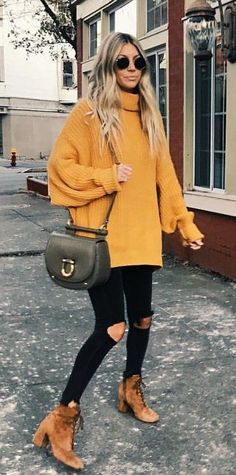 #winter #outfits  women's orange turtle neck sweater outfit