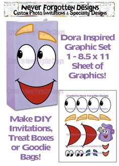 Dora Backpack Printable Party Graphics for Balloons,  Goodie Bags Treat Boxes