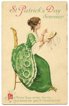 Vintage St. Patrick's Day Image - Lady with Harp - The Graphics Fairy