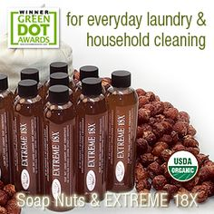 Organic Soap Nuts and Extreme 18X liquid soap nuts detergent and cleaner concentrate from NaturOli.
