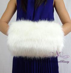 Faux Fur Kid Hand Muff, Ivory Faux Fur Hand Warmer For Flower Girl, Wedding Fur…
