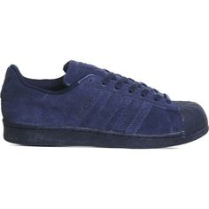 ADIDAS Superstar 1 suede trainers ($105) ❤ liked on Polyvore featuring shoes, sneakers, night indigo, lace up shoes, adidas sneakers, lacing sneakers, suede lace up shoes and laced shoes