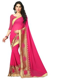 Sarees are unique and stylish with different fabrics and colors. Cod & customization. Order this beckoning hot pink patch border work designer saree.