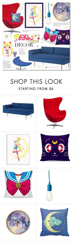 """""""Sailor Moon Decor"""" by alexandrazeres ❤ liked on Polyvore featuring interior, interiors, interior design, home, home decor, interior decorating, Herman Miller, Flash Furniture, Dot & Bo and Funko"""