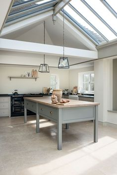 The West Sussex Kitchen has a beautiful Prep Table painted in 'Lead'. Love the roof windows and the light in this kitchen.