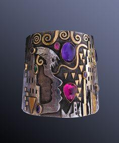 "Cuff | Linda Ladurner. ""Purple Haze""  a tribute to Jimi Hendrix. 2011. Silver, gold.Amethyst, pink tourmaline, emerald."