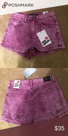 DONATING TODAY Purple acid wash shorts NWT neon blonde purple acid wash Jean shorts from urban outfitters inseam: 2 inches, high waisted Urban Outfitters Shorts Jean Shorts