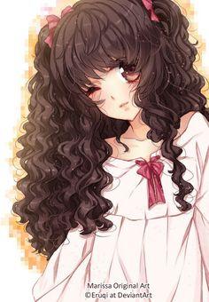 Most Popular Curly Hair Girl Drawing Wallpaper Ideas Anime Curly Hair, Anime Brown Hair, Curly Hair Drawing, Manga Hair, Brown Curly Hair, Trendy Hairstyles, Girl Hairstyles, Female Anime Hairstyles, Art Plastic