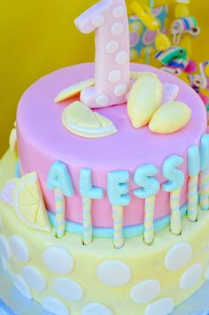 Fun cake at a sunshine and pink lemonade birthday party! See more party ideas at CatchMyParty.com!