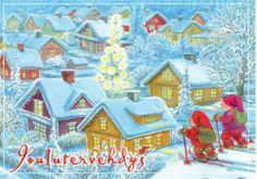 Marjaliisa Pitkäranta Christmas Art, Christmas Photos, Picture Postcards, Penny Black, Vintage Postcards, Gnomes, Stamp, Hand Painted, Album