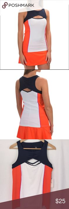 """NWT Tail Tennis Navy White Orange Cut Out Tank Top Tail new with tags Tennis or Workout Tank Top.   Navy/White/Orange with Fuschia Piping.    Add a little sass to your sporty look.  Cut outs at the chest and back bare some skin while keeping it classy.  Stretchy performance poly lends athletic edge with cool color block design.  Ruched details at chest and upper back.  Modern fit has 2 extra inches at hemline, length 24"""".  Chest across laying flat 16"""".   UV sun protection, moisture wicking…"""