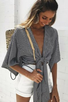 Loose V Neck Striped Blouse