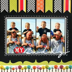 #papercraft #scrapbook #layout     My Buddy scrapbooking layout..........love the flags above, trees below, stitching, and the scallops at bottom.... LOVE THIS - colors are great too