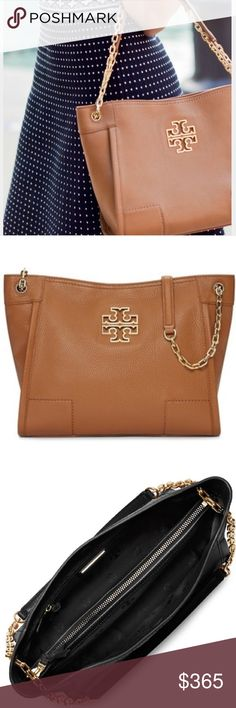NWT 💯 AUTH Tory Burch Britten Slouchy Tote Ships Nov 19! Brand new with tag authentic Tory Burch Britten Small Slouchy Tote in TAN - SOLD OUT ONLINE! My price is FIRM. See all dimensions and details to include photos above. Bag comes wrapped in TB tissue with shopping bag. I do have proof of purchase and directly purchased from a Tory Burch boutique. NO TRADES. This bag can be worn 3 ways! As a shoulder bag with two straps, longer with one strap as shown OR as a Crossbody - see picture 4…