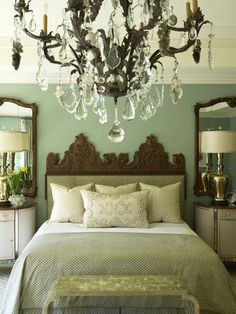 Bedroom - Fabulous muted colour palette and love the mirrors behind the bedside tables.  The chandelier adds grandeur plus elegance.  Sweet slumbers.