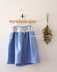 Baby Blue Linen Sun Dress with Lace toddler summer dress