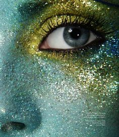Make Up Store mag: so gorgeous and inventive reminds me of what I imagine as mermaid scales but I would hate life while trying to get that glitter off LOL