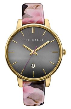 A floral printed leather strap imbues a classic round watch with a touch of Ted Baker London's trademark whimsy. Brand: Ted Baker Band Color: Floral Print Band Material: Leather Band Width (MM): 16 Ca