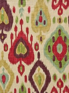 Stout Ikat Fabric in cranberry & eggplant colors
