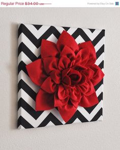 """NEW YEARS SALE Red Wall Flower -Red Dahlia on Black and White Chevron 12 x12"""" Canvas Wall Art- Baby Nursery Wall Decor-"""