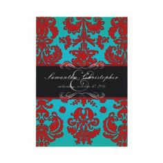 A gorgeous red, black and teal wedding invitation.