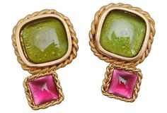 Goodness! Chanel Gripoix Earrings in pink and green!