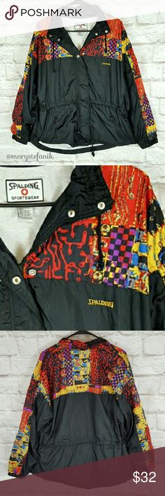 "VINTAGE Colorful Spalding Windbreaker Jacket L VINTAGE Colorful Spalding Windbreaker Jacket L in excellent used condition. Imperfection shown in 4th picture. Drawstring waist. Zipper pocket.   Waist from Seam to Seam: 22"" Length from Top: 27""  Please let me know if you have any questions. Happy Poshing! Spalding  Jackets & Coats"