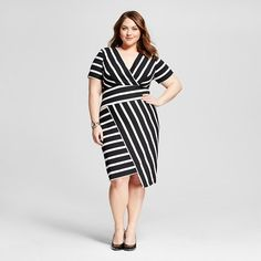 Women's Plus Size Striped Asymmetric Hem Dress - Sami & Dani