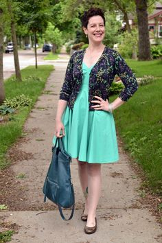 Already Pretty outfit featuring floral cardigan, mint green dress, bronze flats, Foley + Corinna Mid-City Tote