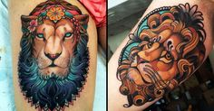Lion tattoos are an old school classic, but with a contemporary twist look just as good! So enjoy these neo-traditional lion tattoos!!