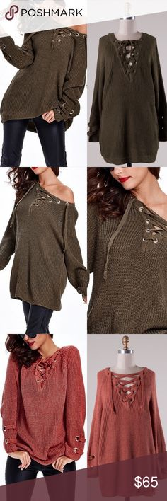 ALIA solid sweater tunic top - OLIVE Long sleeve solid sweater tunic with criss cross self-tying strap.   55% Cotton 45% Acrylic  AVAILABLE IN OLIVE & MARSALA (pic 3)  NO TRADE PRICE FIRM Bellanblue Tops Tees - Long Sleeve