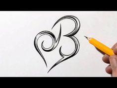 Initial B und Herz kombiniert - Celtic Weave Style - Letter Tattoo Desig . Hand Tattoos, J Tattoo, Cover Tattoo, Tattoo Blog, Body Art Tattoos, Dainty Tattoos, Feminine Tattoos, Shape Tattoo, Letter B Tattoo