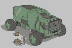 Expedition truck, Timo Kujansuu on ArtStation at https://www.artstation.com/artwork/OOJQk