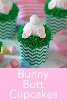 These adorable and delicious bunny butt cupcakes from preppy kitchen are the perfect treat for easter and easier to make than you might think! bunnybuttcupcakes eastercupcakes bestcupcakes learn how to make a gorgeous cupcake bouquet Cupcakes Cool, Easter Cupcakes, Easter Cookies, Easter Treats, Easter Cake Fondant, Cupcakes Kids, Cookies Kids, Spring Cupcakes, Delicious Cupcakes