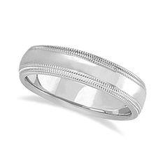Mens Shiny Double Milgrain Wedding Ring Band 18k White Gold (5mm), Men's, Size: 13.5