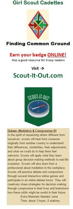 Girl Scout Cadette Finding Common Ground Badge Online Workshop & Resources