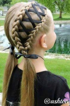 Braided ribbon hairstyle